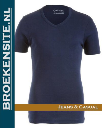 Garage Dames T-shirt Bodyfit V-hals navy G 0702-NAVY Broekensite jeans casual