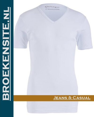 Garage Dames T-shirt Bodyfit V-hals wit G 0702-WT Broekensite jeans casual