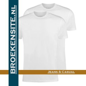 Garage T-shirt Classic Fit ronde hals wit (2-pack) dubbel Broekensite jeans casual