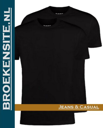 Garage T-shirt Classic Fit ronde hals zwart (2-pack) dubbel Broekensite jeans casual