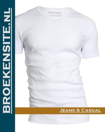 Garage T-shirt Semi Bodyfit V-hals wit G 0302-WT Broekensite jeans casual