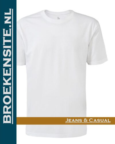 Brams Paris Shirts Max ronde hals wit BP 6.3510-100 Broekensite jeans casual