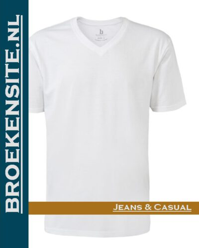 Brams Paris Shirts Tim V-hals wit BP 6.3515-100 Broekensite jeans casual