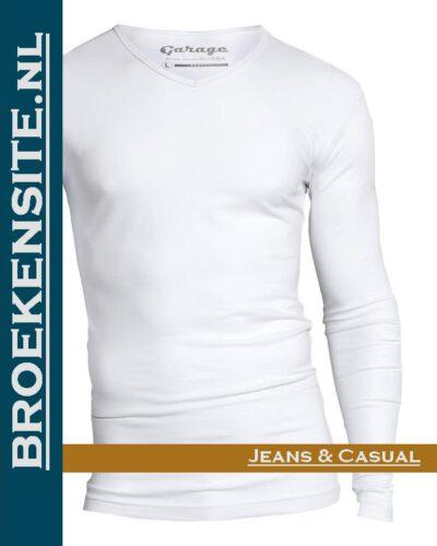 Garage T-Shirt Bodyfit V-hals lange mouw wit G 0204 -WT Broekensite jeans casual