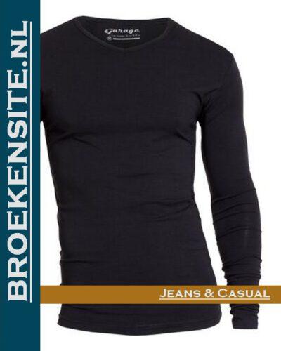 Garage T-Shirt Bodyfit V-hals lange mouw zwart G 0204-ZW spijkerbroek Broekensite jeans casual