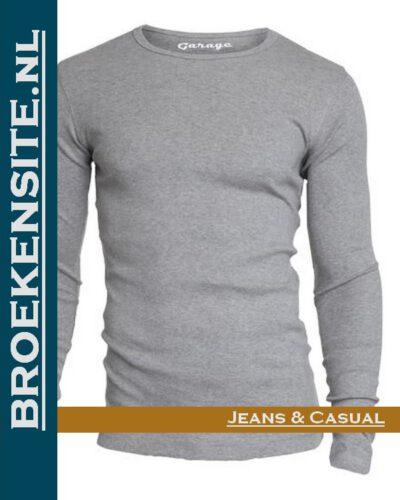 Garage T-Shirt Semi Bodyfit ronde hals lange mouw grijs G 0303-GR Broekensite jeans casual
