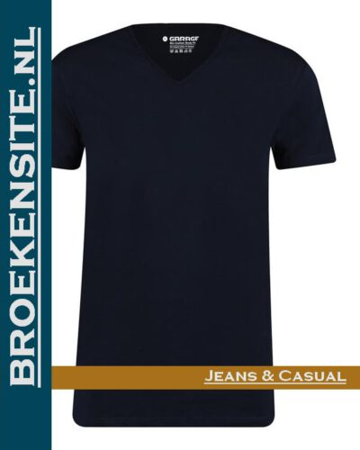 Garage T-shirt Bio-Cotton V-hals navy (2-pack) G 0222-NV Broekensite jeans casual