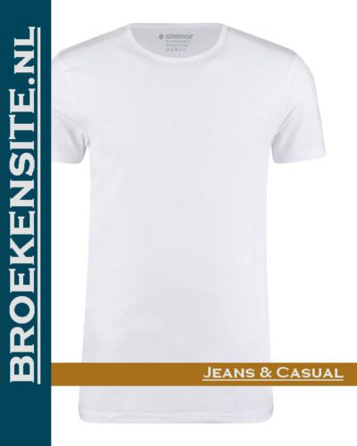 Garage T-shirt Bio-Cotton ronde hals wit (2-pack) G 0221-WT Broekensite jeans casual