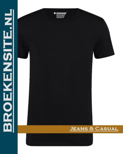 Garage T-shirt Bio-Cotton ronde hals zwart (2-pack) G 0221-ZW Broekensite jeans casual