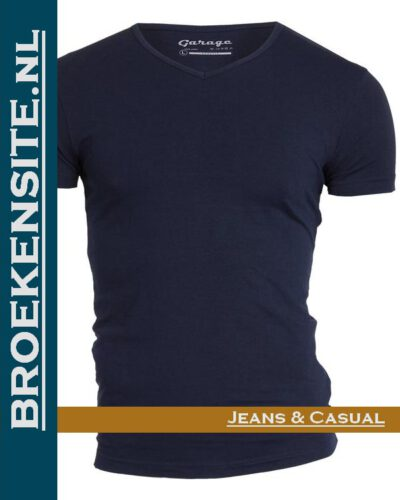 Garage T-shirt Bodyfit V-hals navy G 0202-NV Broekensite jeans casual