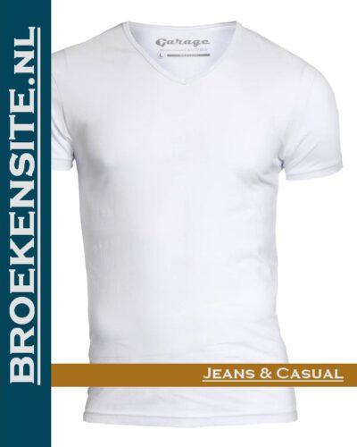Garage T-shirt Bodyfit V-hals wit G 0202-WT Broekensite jeans casual