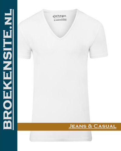 Garage T-shirt Bodyfit diepe V-hals wit G 0206-WT Broekensite jeans casual