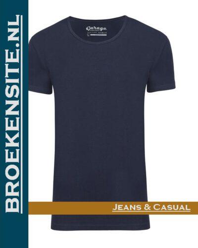 Garage T-shirt Bodyfit diepe ronde hals navy G 0205-NV Broekensite jeans casual