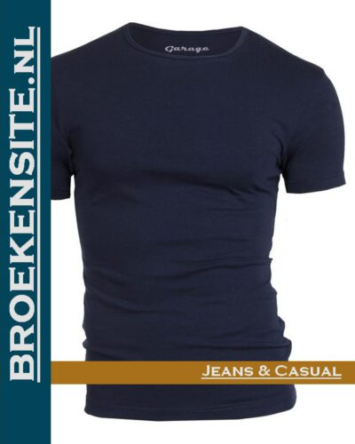 Garage T-shirt Bodyfit ronde hals navy G 0201-NV Broekensite jeans casual
