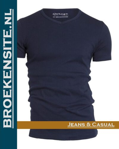 Garage T-shirt Semi Bodyfit V- hals navy G 0302 -NV Broekensite jeans casual