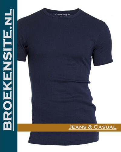 Garage T-shirt Semi Bodyfit ronde hals navy G 0301 -NV Broekensite jeans casual