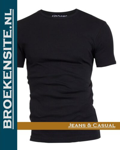 Garage T-shirt Semi Bodyfit ronde hals zwart G 0301 -ZW Broekensite jeans casual
