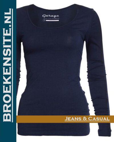 Garage dames T-shirt Lange Mouw R-hals navy G 0704-NAVY Broekensite jeans casual
