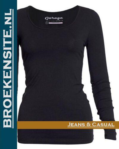 Garage dames T-shirt Lange Mouw R-hals zwart G 0704-BL Broekensite jeans casual