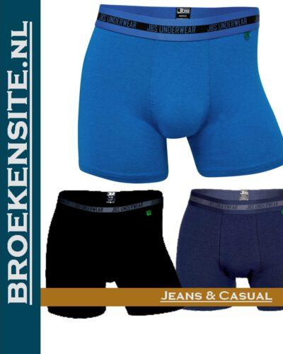 Bamboo Boxershort JBS zwart-lichtblauw-blauw (3-pack) JDS 11080-998 gr-lbl-bl Broekensite