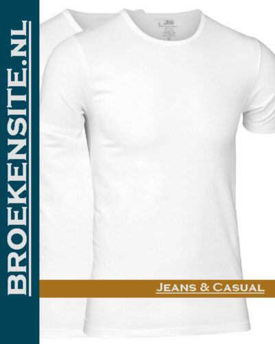 JBS Bamboo T-Shirt 0-hals (2-pack) wit JDS 11080 wit Broekensite jeans casual A